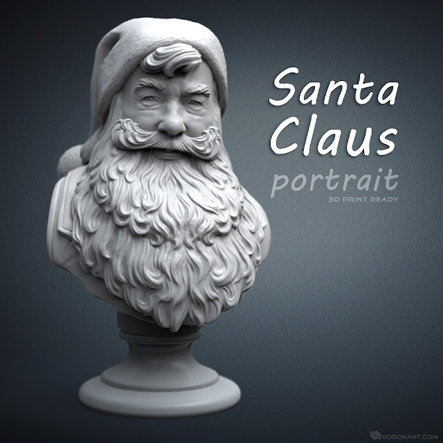 3d model of a smiled Santa Claus. May be used for 3d printing, CNC milling, mold making etc