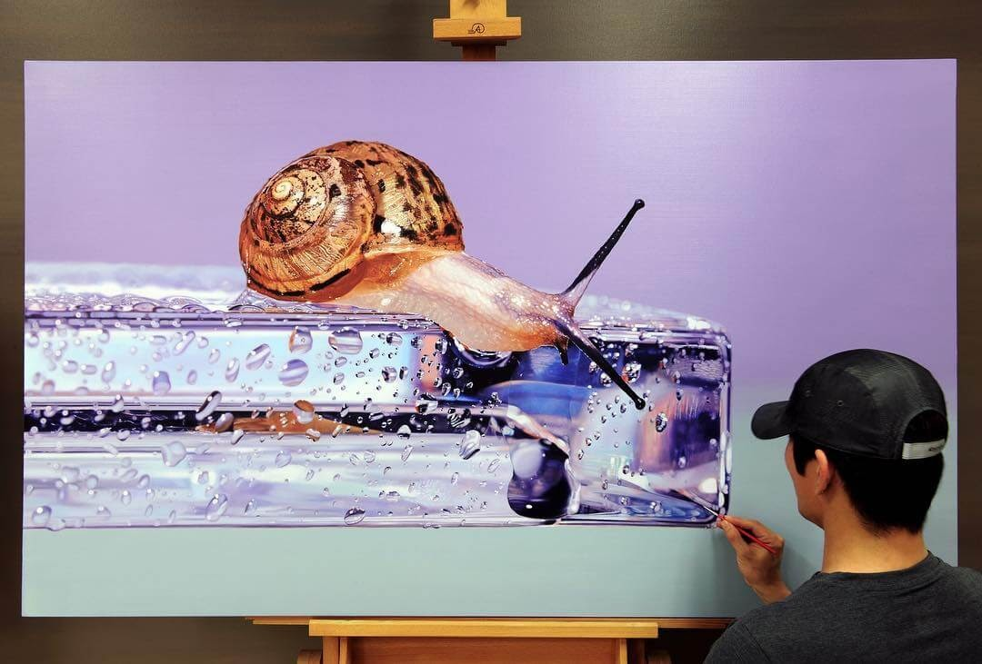 11-Snail-on-Glass-Young-sung-Kim-Realistic-Animal-Oil-Paintings-on-Canvas-www-designstack-co