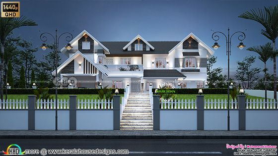Very beautiful sloping roof house above road level