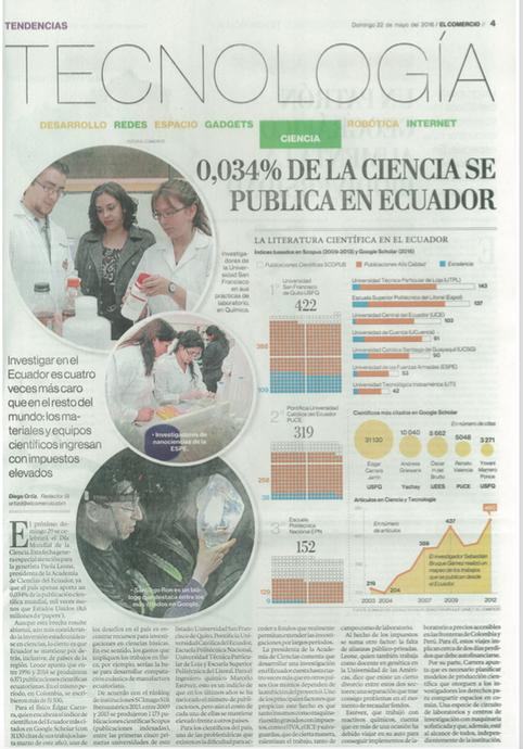 """""""0,034% DE LA CIENCIA SE PUBLICA EN ECUADOR"""""""
