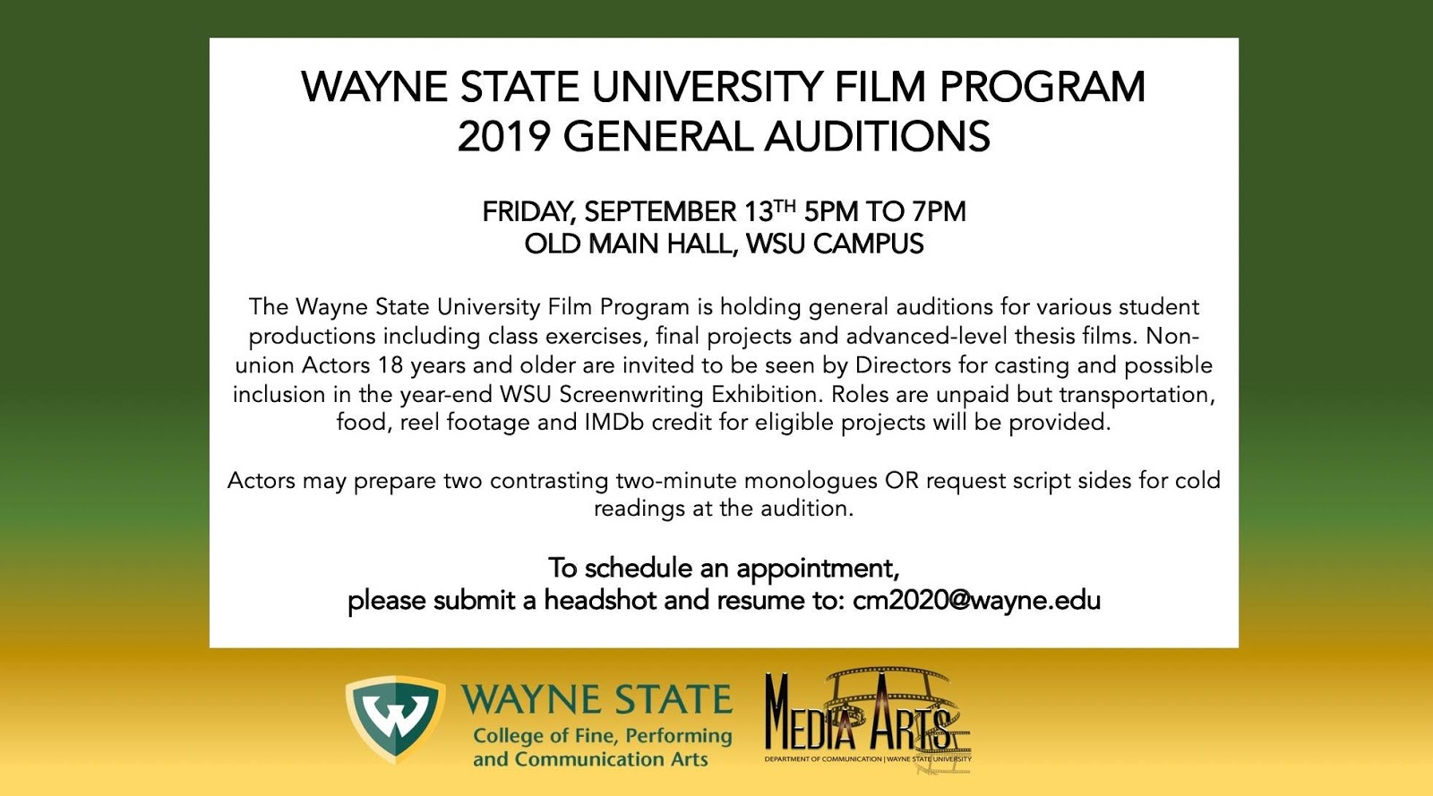 WSU Media Arts: WSU Student Film Auditions