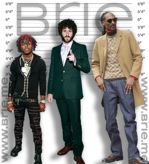 Lil Uzi Vert, Lil Dicky, and Snoop Dogg height comparison