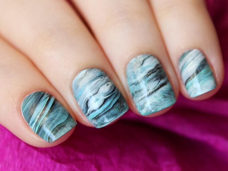 Stone marble nail art Мраморный дизайн