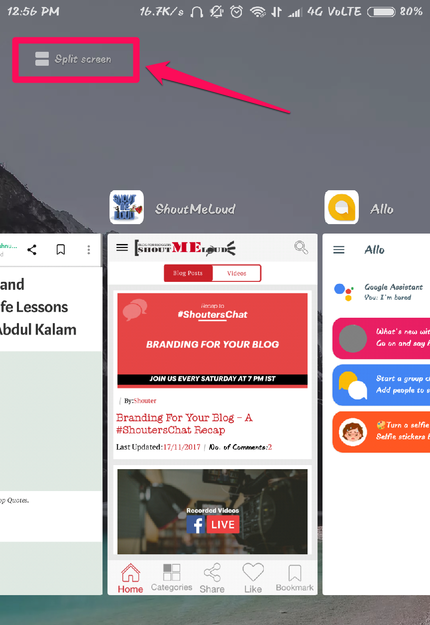 Click on Split Screen as shown on the screenshot