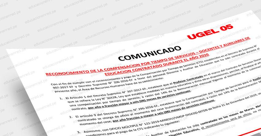 Precisiones sobre el reconocimiento de la CTS a Docentes y Auxiliares de Educación Contratados durante el 2020 en la UGEL 05
