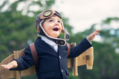 Boy pretending to be a pilot