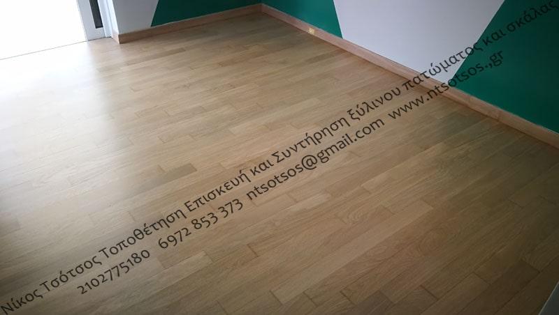 Αλλαγή χρώματος σε δρύινο ξύλινο πάτωμα - Φυσικό λευκό (naturale)