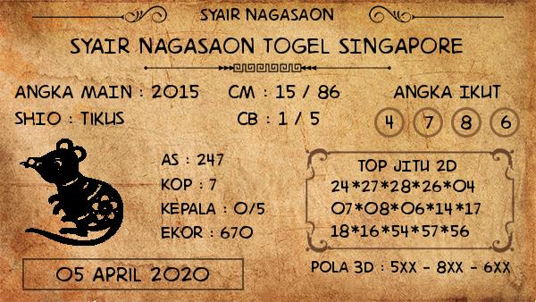 Prediksi Togel Singapura Minggu 05 April 2020 - Nagasaon SGP
