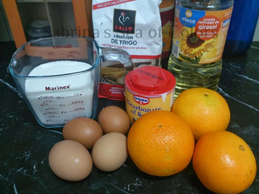 naranjas azúcar huevos aceite harina bicarbonato de sodio