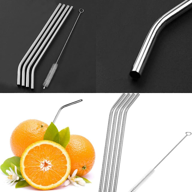[4 pcs] Steel Straw with a straw cleaner