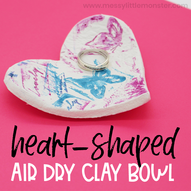 air dry clay bowl heart craft