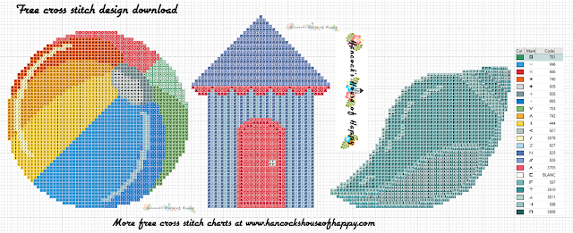 Free Cross Stitch Christmas Decoration Pattern. Three Beach Theme Christmas Tree Ornaments.