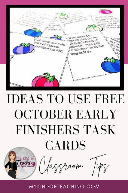 Ideas to use: Free October early finishers task cards
