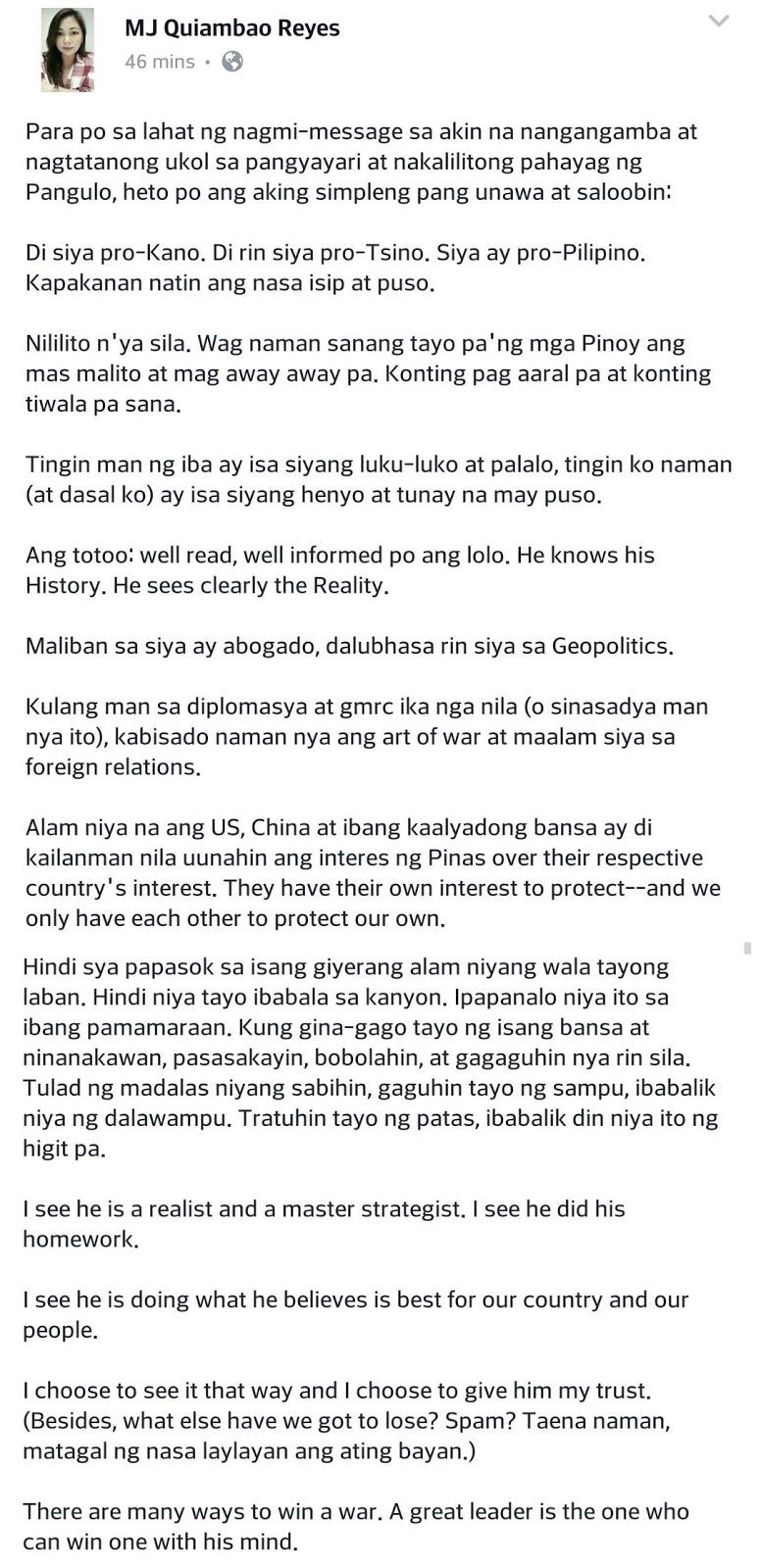 Netizen Defends Duterte Over His Anti-US statement: Di siya pro-Kano. Di rin siya pro-Tsino. Siya ay pro-Pilipino
