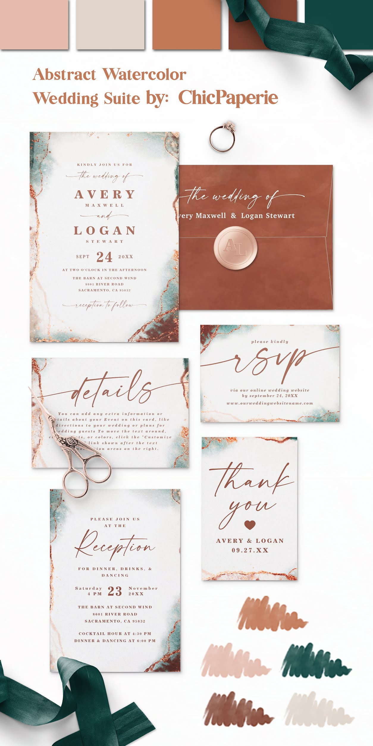 Abstract Watercolor Wedding Invitations: Modern and Elegant in the Terracotta Color Palette