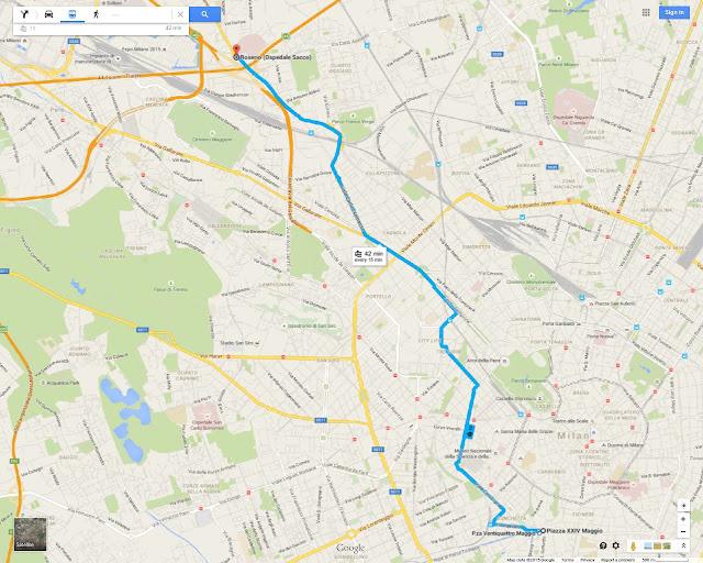 Milan's Tram 19 route map, serving Sempione district, Domodossola Station, Porta Genova Station, Porta Ticicnese, Piazzale XXIV Maggio