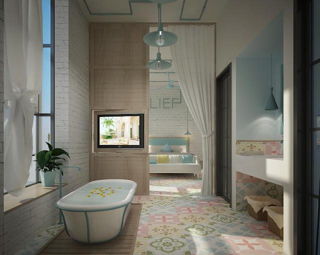 Phòng tắm của khách sạn boutique