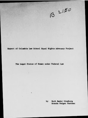 cover page of RBG's report on the status of women under federal law