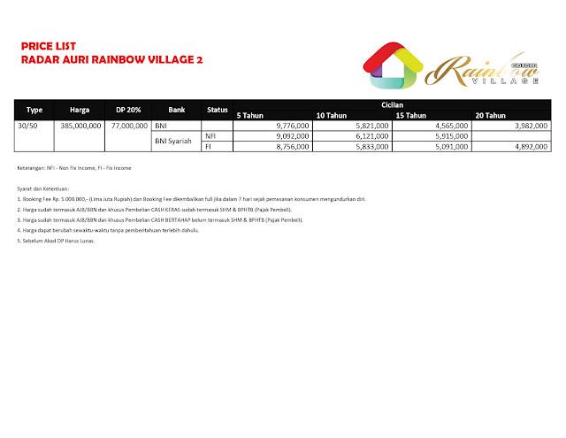 Jual Rumah Cluster Rainbow Village 2 di Depok Jalan Radar Auri 3