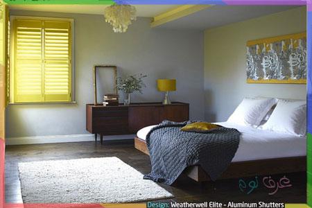 غرفة بسيطة بالاصفر والرصاصي
