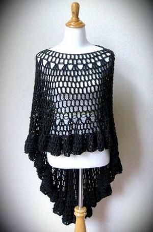 Asymmetric Circular Crochet Poncho - blak