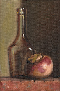 Still life oil painting of a turnip beside a small glass bottle.