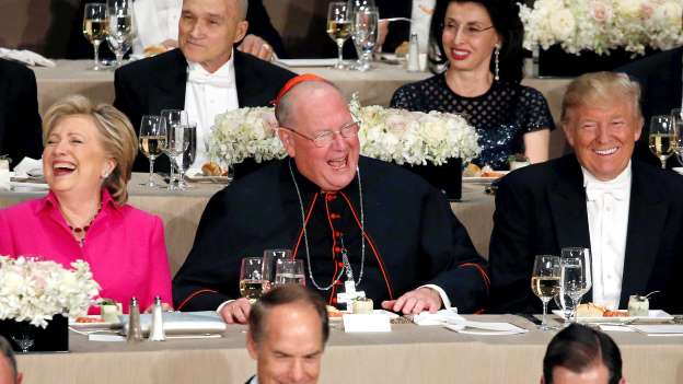 Cardinal Dolan: Trump, Clinton traded jabs at podium — but it was different in private
