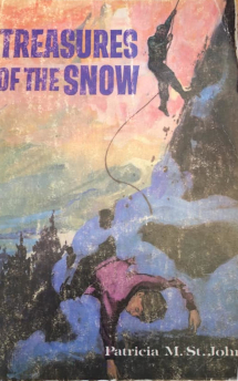 This Treasures of the Snow Cover shows an illustration of a boy passed out on the edge of a cliff with a climber in the background.