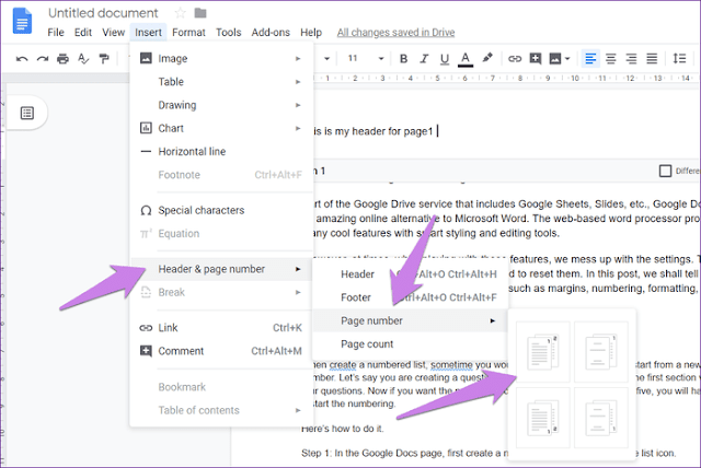 How to make different headers and footers in Google Docs
