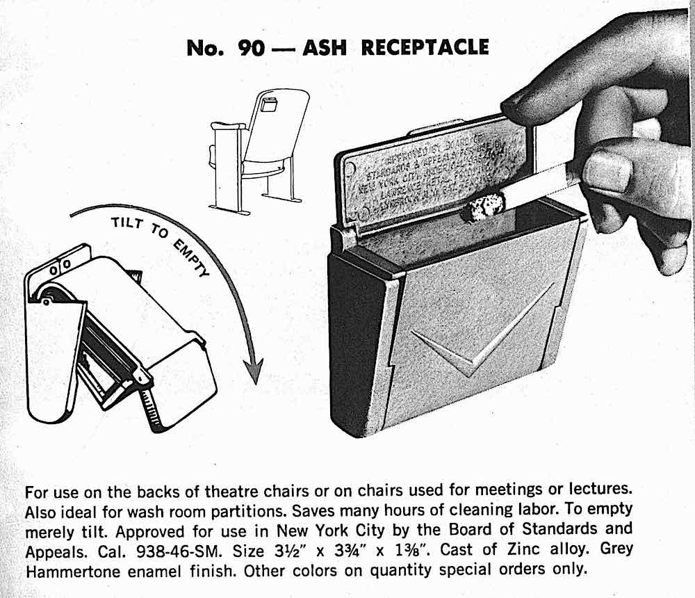 a 1960 theater seat ash receptacle