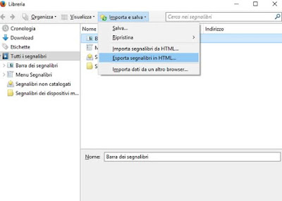 Come esportare i segnalibri di firefox in html