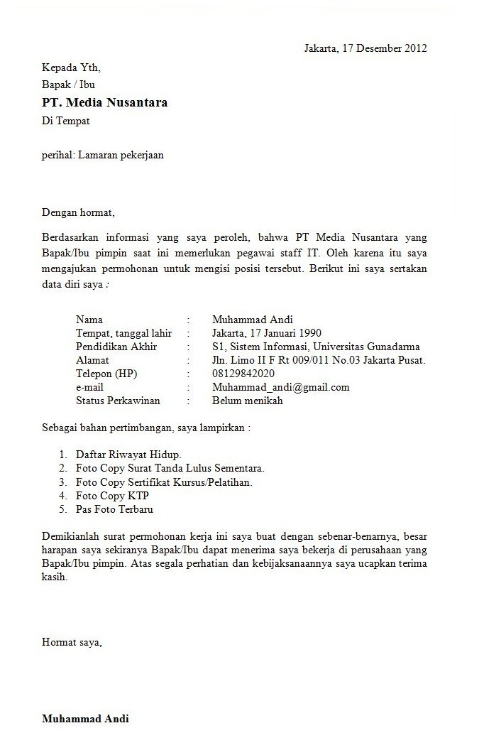 Contoh Surat Lamaran Perangkat Desa Surat 35