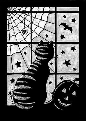 Tekenen En Zo Halloween.Tekenen En Zo Halloween Kat Voor Het Raam