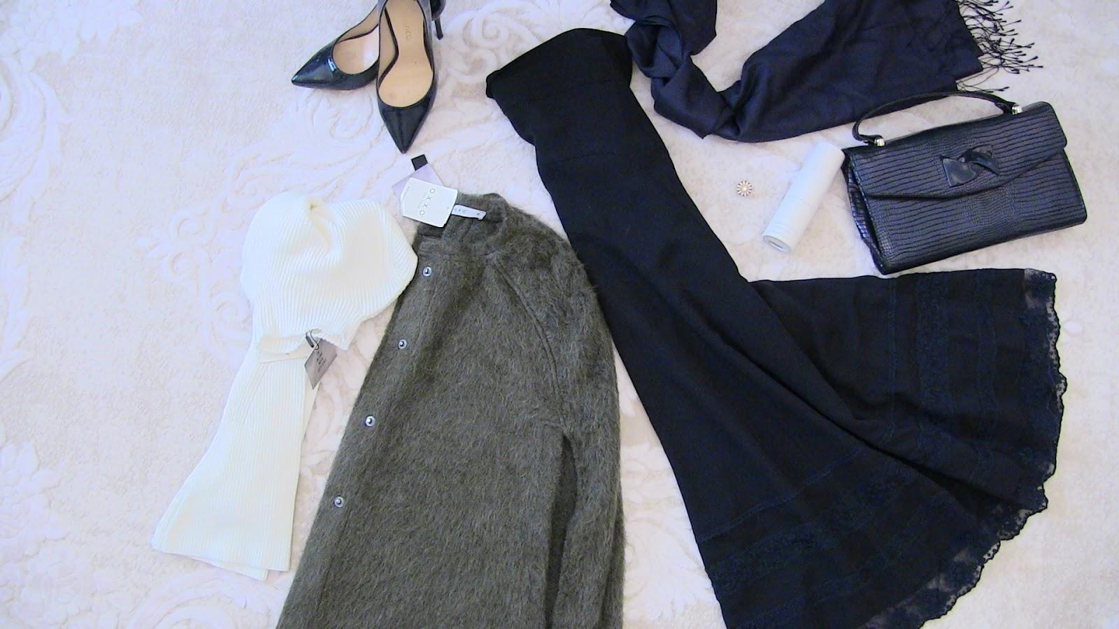 oxxo yeşil ceket mont, tesettür etek, kemal tanca çanta ve ayakkabı, oxxo beyaz boğazlı triko
