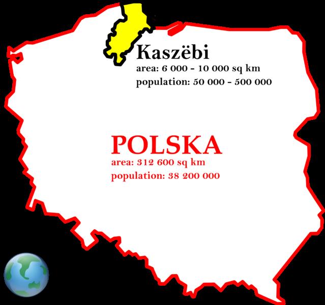 Et Kasjoebiese sproakgebeed in et gel op de kaarte van Polen. (Foto: kashubians.blogspot.nl)