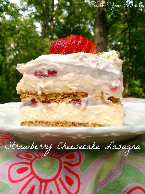Strawberry Cheesecake Lasagna! An easy no-bake layered dessert recipe with graham crackers, cheesecake filling and fresh strawberries.