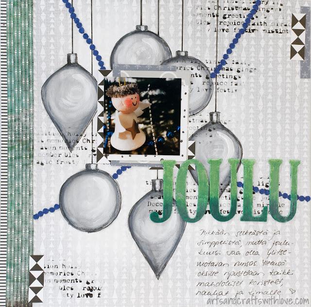 Scrapbooking layout using Jehkotar CRAFTChallenge sketch: Joulu-Christmas