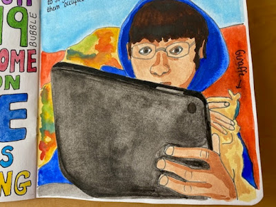 Painting of a boy on his tablet
