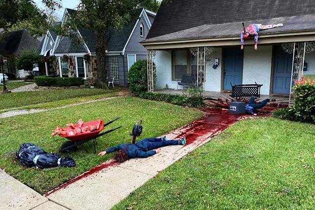 Artista plástico Steven Novak fez em seu jardim um cenário de terror