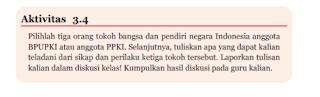 Aktivitas 3.4 Meneladani tiga tokoh bangsa, PKN kelas 7 Halaman 75