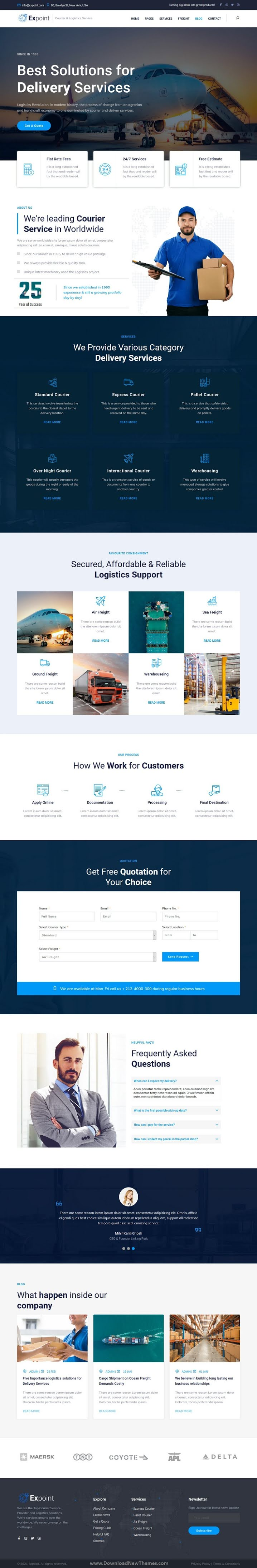 Delivery Services and Logistics Bootstrap Template