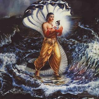Lord Krishna Childhood Image With Yamuna River, Lord Krishna Childhood crossing Yamuna River