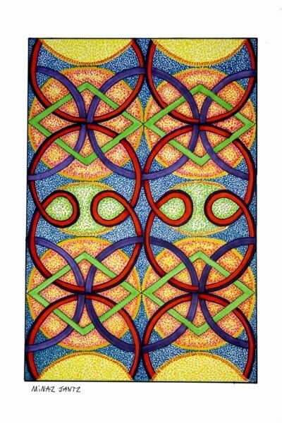 'Kaleidoscope Tango',  Bristol paper, pencil, Copic Markers By Minaz Jantz