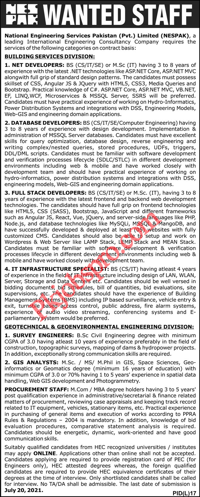 National Engineering Services Pakistan Jobs 2021