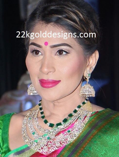 Stunning Emerald Diamond Necklace and Jhumkas