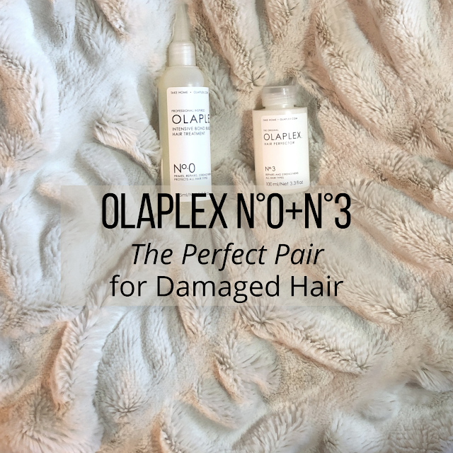 Main image: Olaplex No.0 and No.3 hair repair treatment products on faux fur throw with text OLAPLEX N°0+ N°3 The Perfect Pair for Damaged Hair