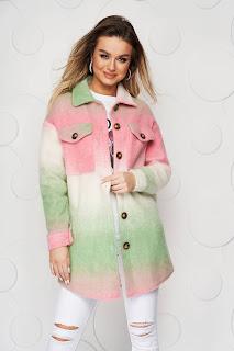 Jacheta tip camasa SunShine roz din lana