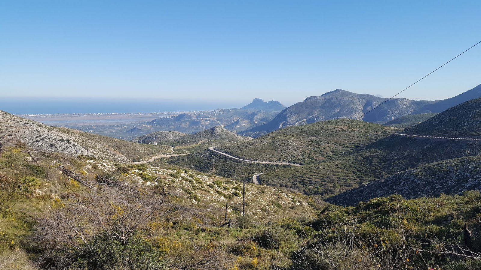 View of Mediterranean Sea from Vall d'ebo climb, Alicante, Spain