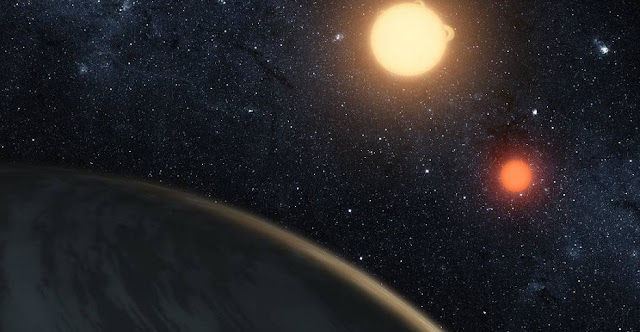 This artist's concept illustrates Kepler-16b, the first planet known to orbit two stars – what's called a circumbinary planet. The planet, which can be seen in the foreground, was discovered by NASA's Kepler mission. New research from the University of Washington indicates that certain shot-period binary star systems eject circumbinary planets as a consequence of the host stars' evolution.NASA/JPL-Caltech/T. Pyle