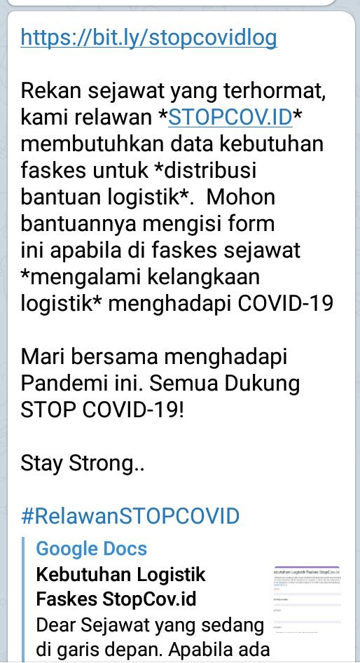 relawan *STOPCOV.ID* membutuhkan data kebutuhan faskes untuk *distribusi bantuan logistik*.